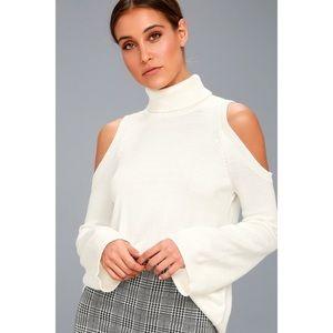 White Cold Shoulder Turtleneck Sweater